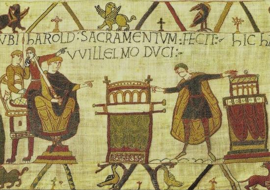 Bayeux scene 23 UBI HAROLD SACRAMENTUM FECIT WILLELMO DUCI