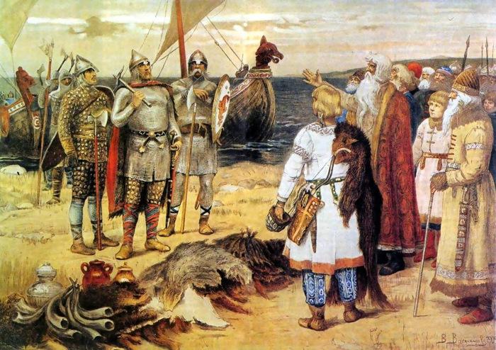 Варяги Invitation of the Varangians Rurik and his brothers arrive in Staraya Ladoga Viktor Vasnetsov