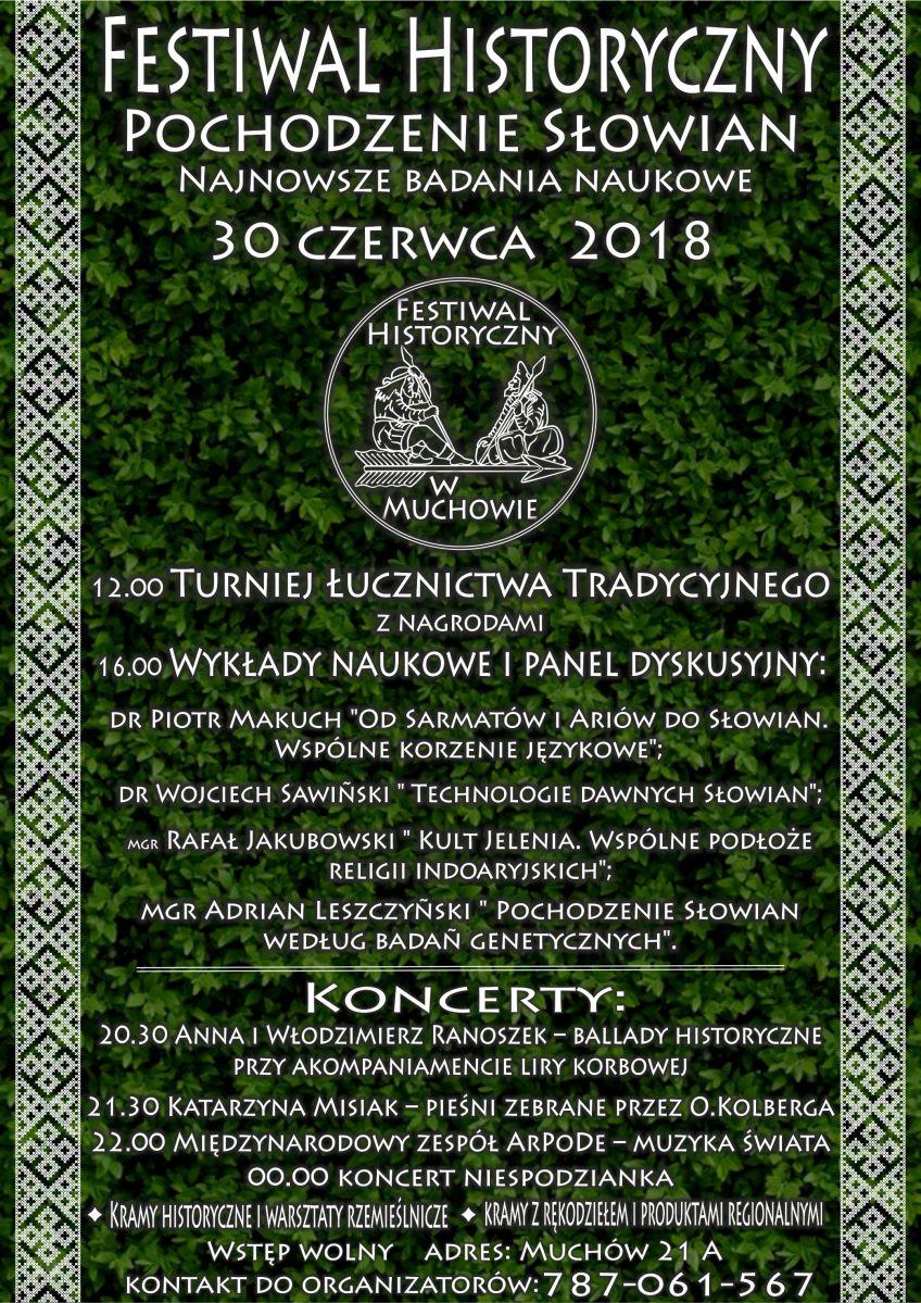 Zaproszenie na słowiański festiwal - 30 czerwca 2018 w Muchowie